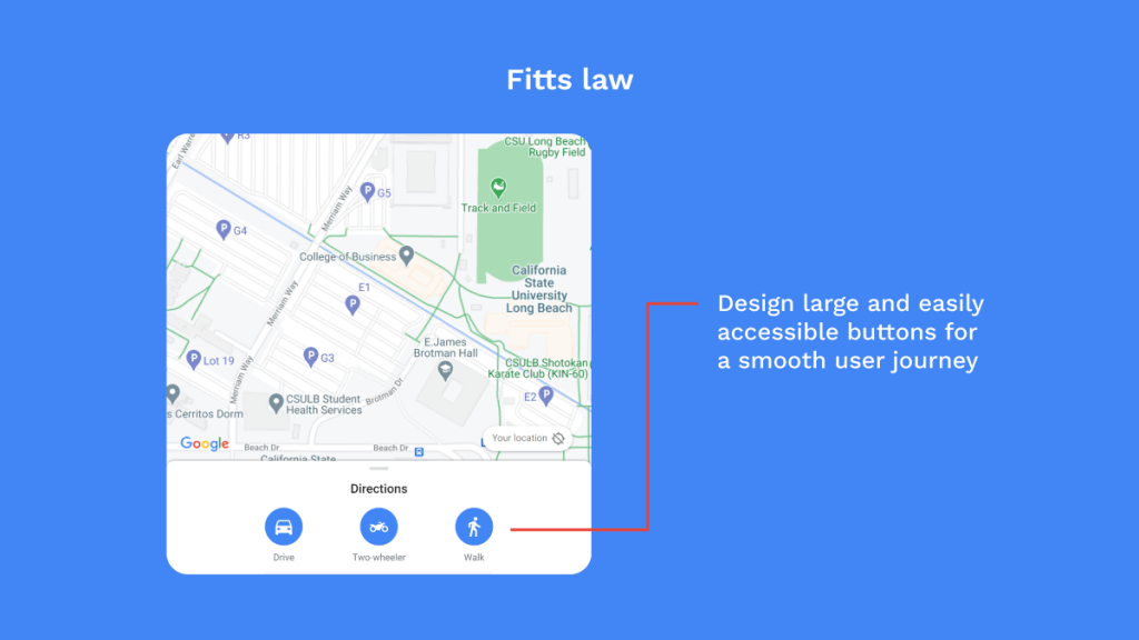 Application of Fitts law in designing buttons in Google maps