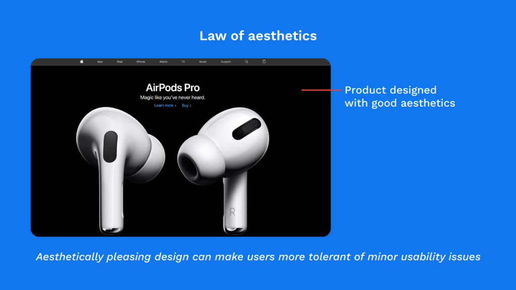 Law of Aesthetics applied in Apple product listing page