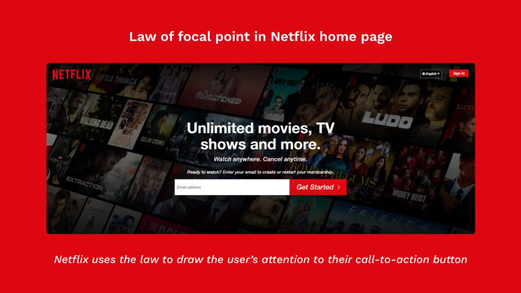 Application of law of Focal point in Netflix home page