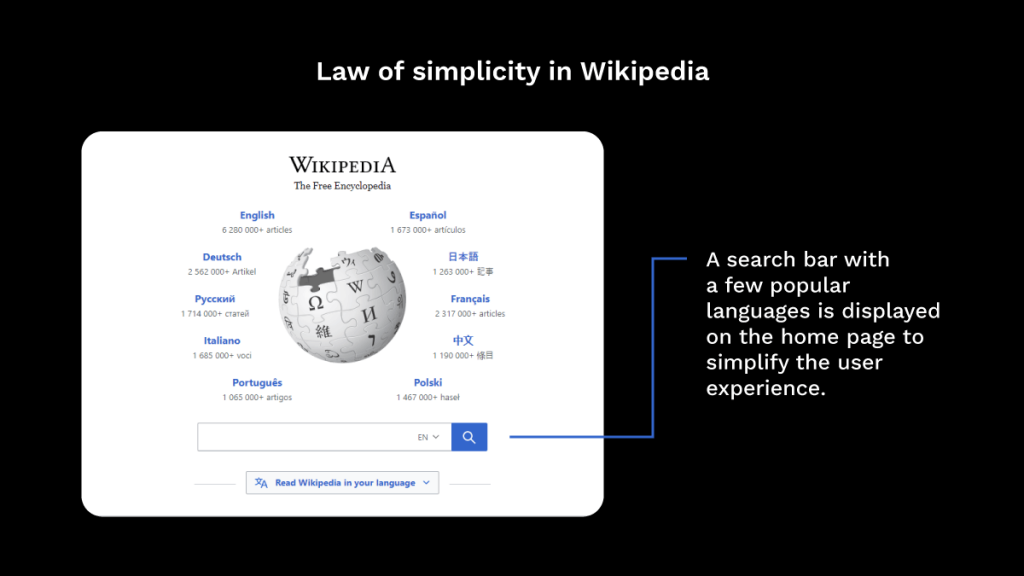 Application of law of Simplicity in Wikipedia